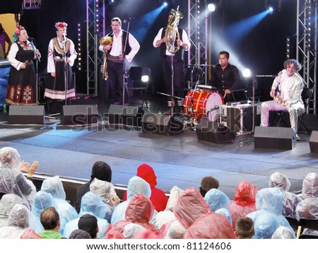 STUTTGART, GERMANY - JULY 07: Goran Bregovic & His Wedding And Funeral Band in concert at Jazzopen Stuttgart on July 07, 2011 in Stuttgart, Germany - stock photo