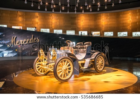 """STUTTGART, GERMANY - JULY 16, 2015: Interior of museum """"Mercedes-Benz Welt"""".The museum covers the history of the Mercedes-Benz and the brands associated."""