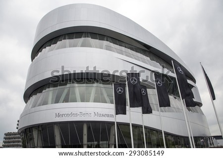 """STUTTGART, GERMANY - JULY 4, 2015: Museum """"Mercedes-Benz Welt"""" contains more than 160 vehicles.The Mercedes-Benz Museum is an automobile museum in Stuttgart, Germany. - stock photo"""