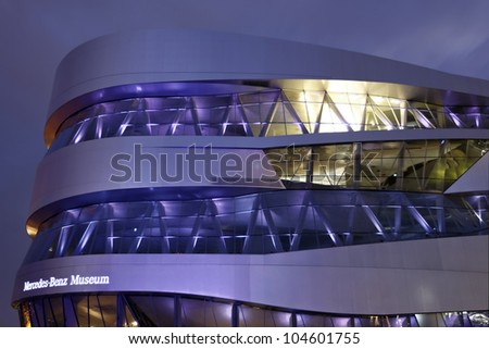 "STUTTGART, GERMANY - JUNE 2: Light Show at the Mercedes Benz Museum-Building at the festival ""Intel Ultrabook 3D Tour "" June 2, 2012 in Stuttgart, Germany - stock photo"