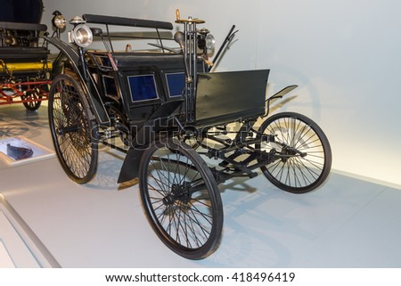 STUTTGART, GERMANY- MARCH 19, 2016: Benz Motor Velocipede also known as Velo, 1884. Mercedes-Benz Museum.