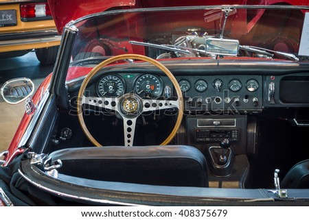 "STUTTGART, GERMANY - MARCH 18, 2016: Cabin of sports car Jaguar E-Type 4.2 Serie I roadster, 1967. Europe's greatest classic car exhibition ""RETRO CLASSICS"""