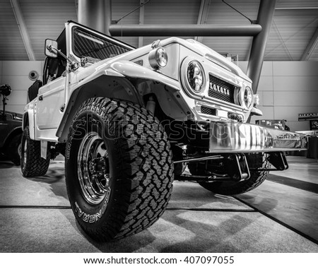 "STUTTGART, GERMANY - MARCH 18, 2016: Compact SUV Toyota Land Cruiser J40, 1977. Black and white. Europe's greatest classic car exhibition ""RETRO CLASSICS"""