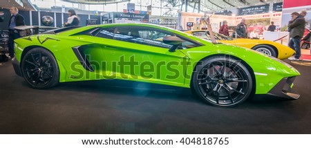 "STUTTGART, GERMANY - MARCH 17, 2016: Mid-engined sports car Lamborghini Aventador LP 750-4 SuperVeloce, 2016. Europe's greatest classic car exhibition ""RETRO CLASSICS"" - stock photo"
