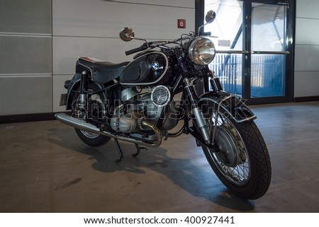 """STUTTGART, GERMANY - MARCH 17, 2016: Motorcycle BMW R69S, 1961. Europe's greatest classic car exhibition """"RETRO CLASSICS"""" - stock photo"""