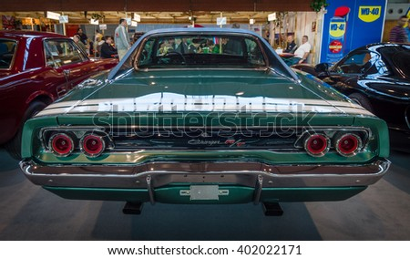 """STUTTGART, GERMANY - MARCH 17, 2016: Muscle car Dodge Charger R/T, 1968. Rear view. Europe's greatest classic car exhibition """"RETRO CLASSICS"""" - stock photo"""
