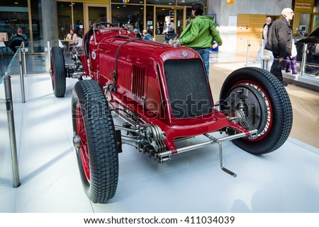 "STUTTGART, GERMANY - MARCH 18, 2016: Race car Maserati 8CM Monoposto Grand Prix, 1933. Europe's greatest classic car exhibition ""RETRO CLASSICS"" - stock photo"