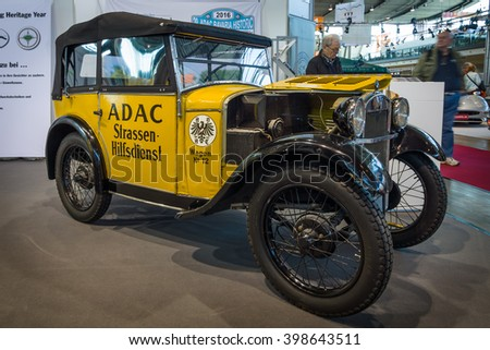 "STUTTGART, GERMANY - MARCH 17, 2016: Retro car BMW 3/15 PS DA2 (""Dixi"") by ADAC (General German Automobile Club), 1929. Europe's greatest classic car exhibition ""RETRO CLASSICS"" - stock photo"