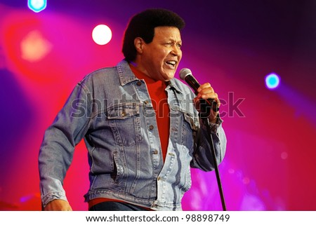 STUTTGART, GERMANY - MARCH 24: Singer Chubby Checker live in concert on stage at the festival March 24, 2012 in Stuttgart, Germany - stock photo