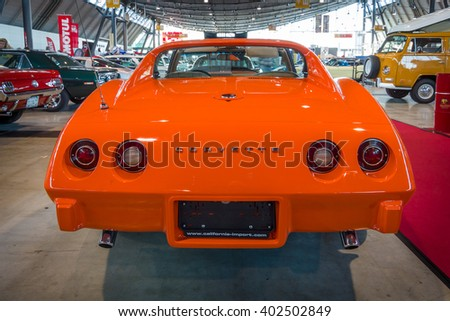 "STUTTGART, GERMANY - MARCH 17, 2016: Sports car Chevrolet Corvette Stingray Coupe (C3), 1975. Rear view. Europe's greatest classic car exhibition ""RETRO CLASSICS"" - stock photo"