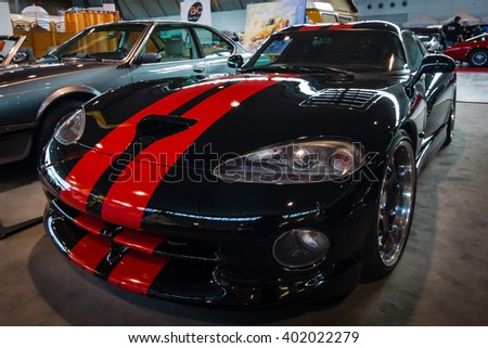 "STUTTGART, GERMANY - MARCH 17, 2016: Sports car Dodge Viper GTS, 1999. Europe's greatest classic car exhibition ""RETRO CLASSICS"" - stock photo"
