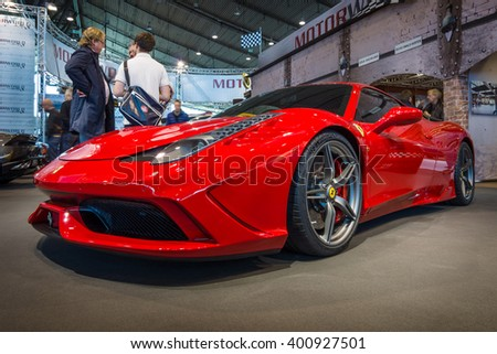 "STUTTGART, GERMANY - MARCH 17, 2016: Sports car Ferrari 458 Italia, 2014. Europe's greatest classic car exhibition ""RETRO CLASSICS"" - stock photo"