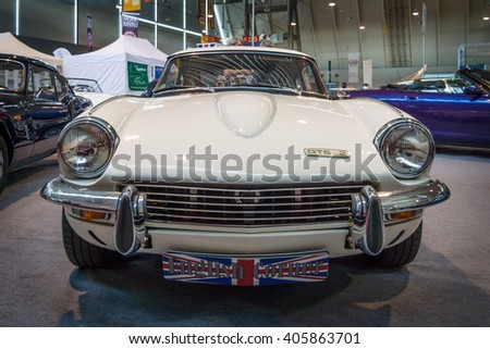 "STUTTGART, GERMANY - MARCH 18, 2016: Sports car Triumph GT6 Mk II, 1970. Europe's greatest classic car exhibition ""RETRO CLASSICS"""