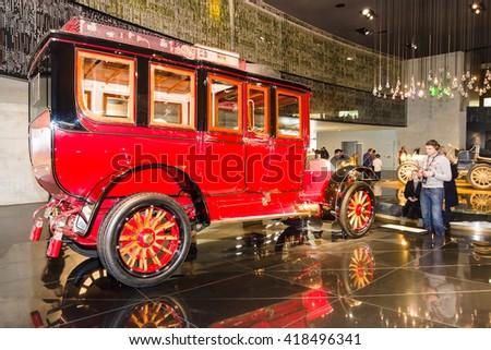 STUTTGART, GERMANY- MARCH 19, 2016: Vintage car Mercedes-Simplex 60 PS Touring Limousine, 1904. Mercedes-Benz Museum. - stock photo