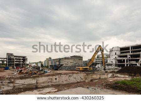 STUTTGART, GERMANY - MAY 29, 2016: Demolition work on the former buildings of the KNV Group in Stuttgart, Germany. The KNV Group, book wholesaler, moved their warehouses to the Eastern parts of