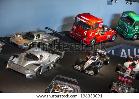 Stuttgart, Germany - May 25: Mercedes automobile inside the Mercedes-Benz Museum in Stuttgart, Germany, on May 25, 2014. The museum covers the history of the Mercedes-Benz and the brands associated. - stock photo