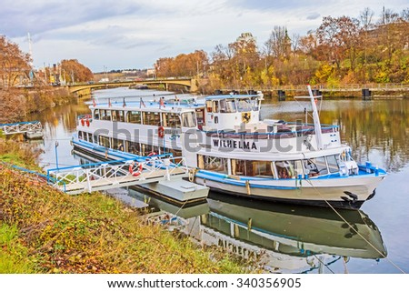 Stuttgart, Germany - November 14, 2015: Passenger shipping company Neckar Kaept'n - Flagship MS Wilhelma, at the landing pier near the famous zoo of Stuttgart Wilhelma.