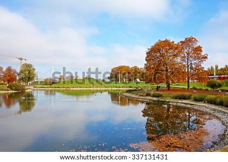 Stuttgart, Germany - November 1, 2015: Unterer Schlossgarten, Inselsee (Lower Castle Garden, Island Lake) - a local recreation area                                - stock photo