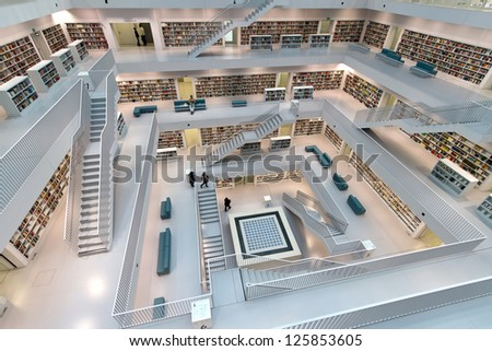 STUTTGART, GERMANY - OCT 23: The Stuttgart City Library on October 23, 2012 in Stuttgart, Germany. In the first year after its opening, the library has attracted more than 1.000.000 visitors. - stock photo