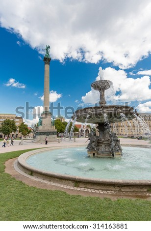 STUTTGART, GERMANY - SEPTEMBER 05, 2015:Schlossplatz is the beautiful  square in the center of Stuttgart and home to the Neues Schloss which was built between 1746 and 1807