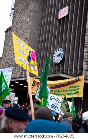 STUTTGART - JAN 29: 40.000 people protest against the S21 rail project on Jan 29, 2011 in Stuttgart, Germany. S21 station is one of the most expensive and controversial railway projects. - stock photo