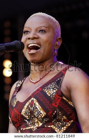 STUTTGART - JULY 08: Angelique Kidjo in concert at Jazzopen Stuttgart July 08, 2011 in Stuttgart, Germany - stock photo