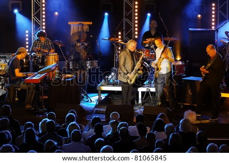 "STUTTGART - JULY 06: Group ""Klaus Doldingers Passport Today"" in concert at Jazzopen Stuttgart July 06, 2011 in Stuttgart, Germany - stock photo"
