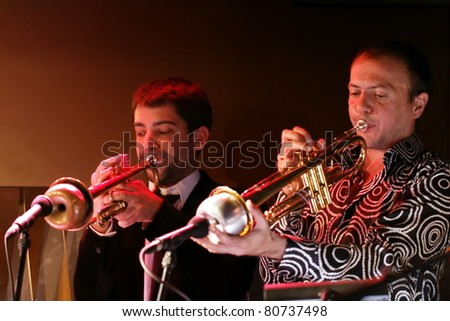 "STUTTGART - JULY 09: Group ""Le Sacre Du Tympan"" in concert at Jazzopen-BIX Stuttgart July 09, 2011 in Stuttgart, Germany. - stock photo"