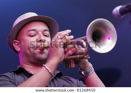"STUTTGART - JULY 09: Group ""Matt Bianco "" in concert at Jazzopen Stuttgart July 09, 2011 in Stuttgart, Germany - stock photo"