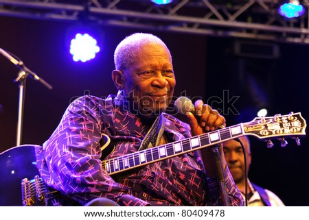 STUTTGART-JULY 01: Legendary blues guitar player B.B. King in concert at Jazzopen Stuttgart July 01, 2011 in Stuttgart, Germany - stock photo