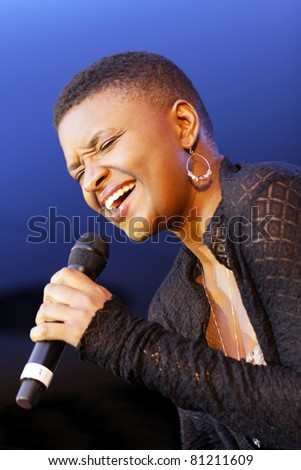 STUTTGART - JULY 08:Lizz Wright concert at Jazzopen Stuttgart July 08, 2011 in Stuttgart, Germany - stock photo