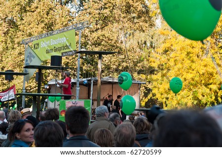 STUTTGART - OCT 9: 150,000 people protest against the S21 project on Oct 09, 2010 in Stuttgart. S21 is one of the most expensive and controversial railway projects. - stock photo