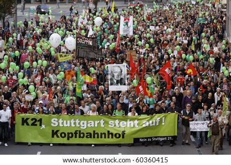 STUTTGART 21  - SEPTEMBER 03 : Demonstration against the construction of the railway station in Stuttgart - Germany. September 03, 2010 in Stuttgart, Germany - stock photo