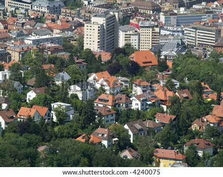 Stuttgart view from oldest tv tower - stock photo