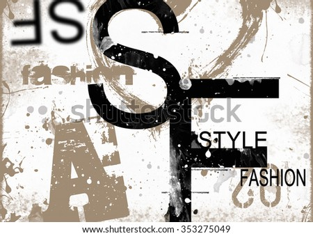 STYLE and FASHION word cloud concept. Grunge illustration - stock photo