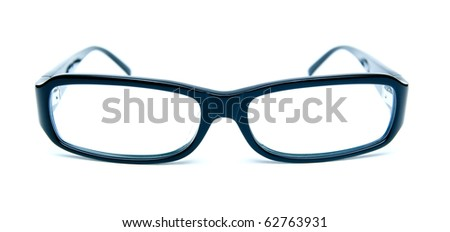 style black glasses on white - stock photo