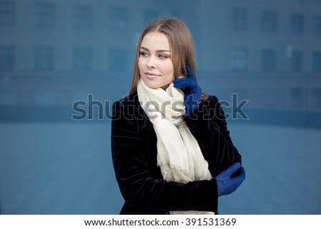 Style blonde girl at beautiful autumn outside - stock photo