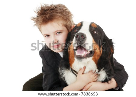 Style  boy with his dog. - stock photo