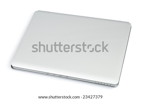 Style compact white laptop isolated with clipping path over white - stock photo
