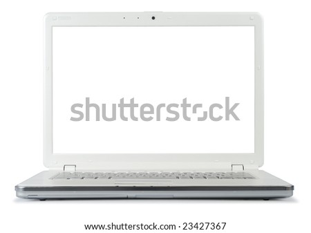 Style compact white laptop isolated with clipping path over white background - stock photo