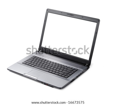 Style laptop isolated with clipping path over white background - stock photo