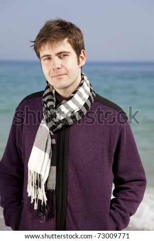 Style men in violet at the beach. - stock photo