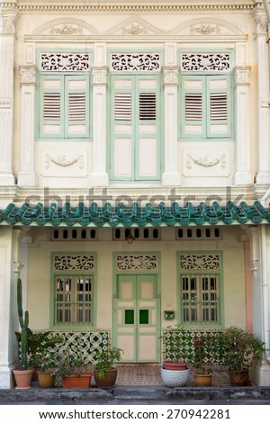 Style of a Shophouse in Singapore. - stock photo