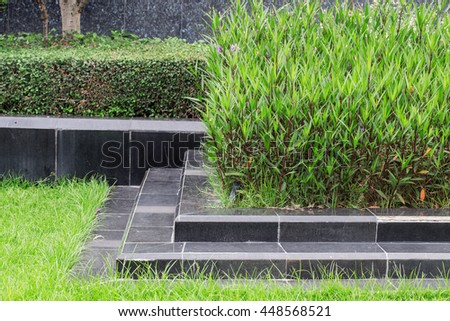 Style outdoor landscaping blend perfectly. - stock photo