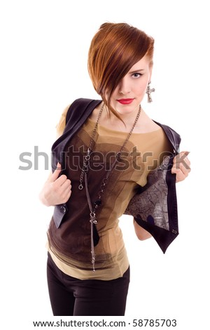 style red hair woman posing in studio isolated - stock photo
