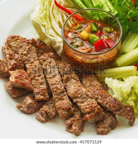 Style roast beef with barbecue sauce Thailand. - stock photo