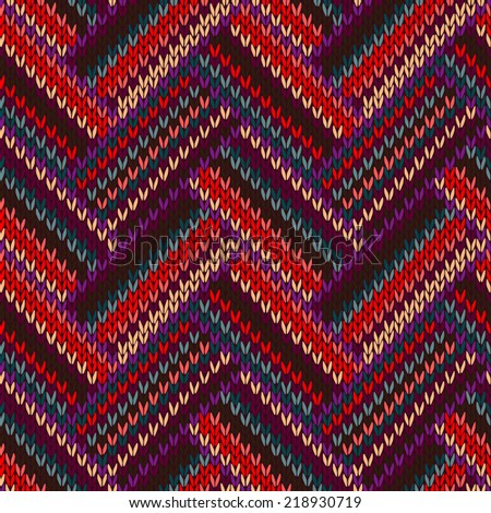 Style Seamless Knitted Pattern. Complex Geometric Striped Red Blue Brown Violet Orange Yellow Color Swatch  - stock photo
