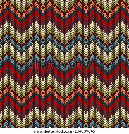 Style Seamless Knitted Pattern. Red Blue Brown White Green Color Swatch - stock photo
