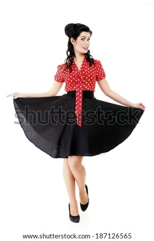 style Sexy Patriotic American Girl pin-up retro woman isolated - stock photo