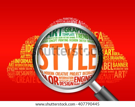 STYLE word cloud with magnifying glass, business concept - stock photo